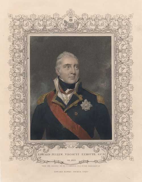 Tallis Naval portrait. Edward Pellew, Viscount Exmouth. Antique Print c1853