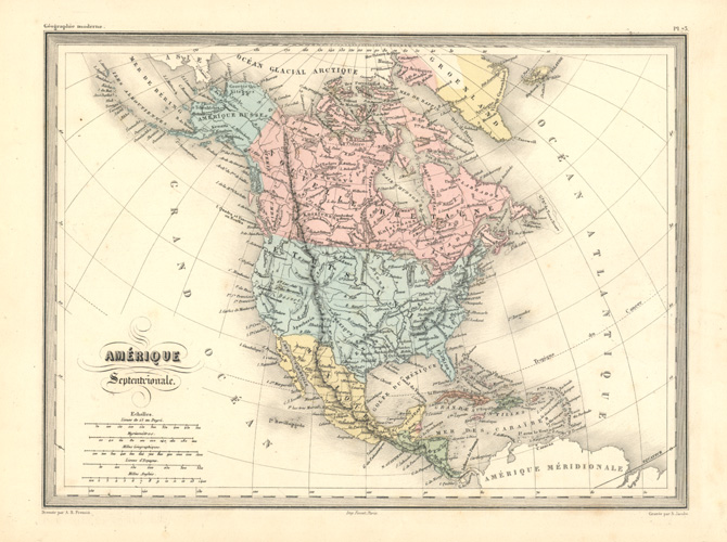 Amérique Septentrionale (North America) antique map by Fremin c1870.