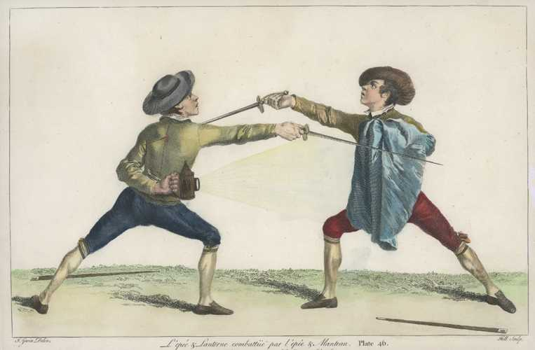 Fencing. Epée and Lantern against Epee and Cloak. Gwynn Plate 46 c1763
