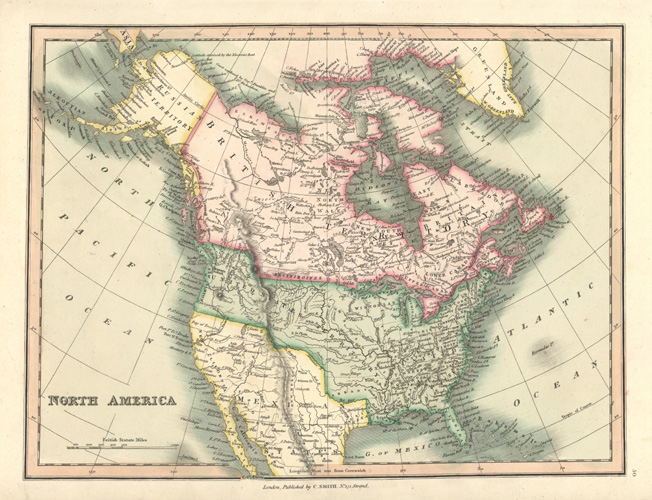North America antique map by Charles Smith c1836