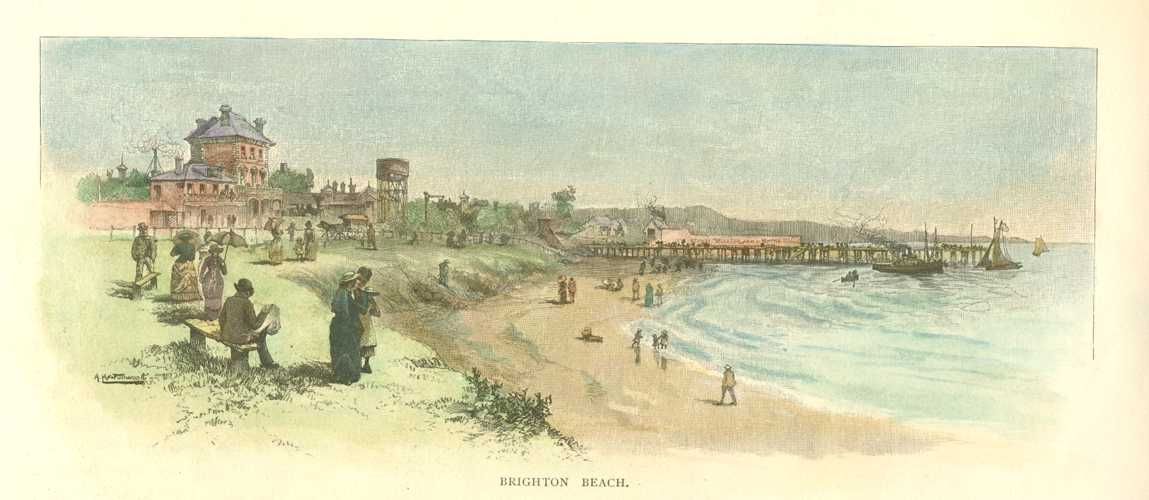 Brighton Beach, near Melbourne in Australia. Antique Print c1886