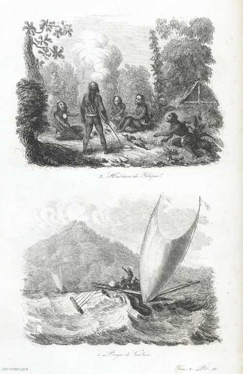 Solomon Islands. Habitans de Tikopia. Pirogue de VaniKoro. c1834