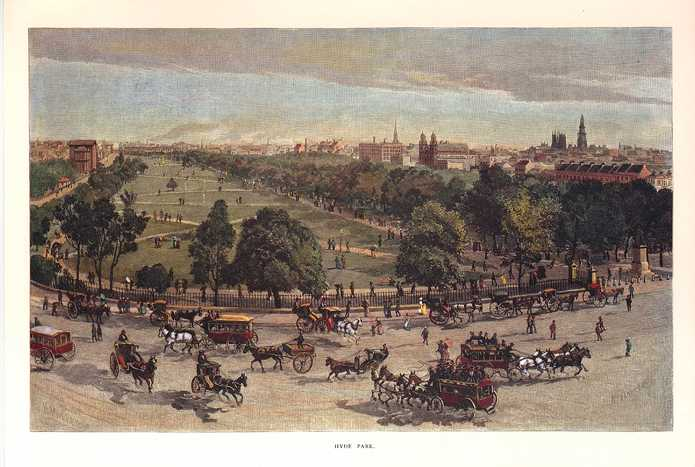 Hyde Park, Sydney, New South Wales. Colonial Australia view