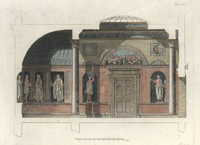 Elevation with Classical statues, niches, carved door mantle c1810