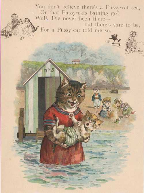 A Beach for Pussy-cats by Clifton Bingham. Weedon lithograph c1910