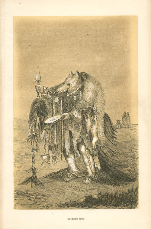 North American Indian Medicine Man. Joliet antique print c1860.