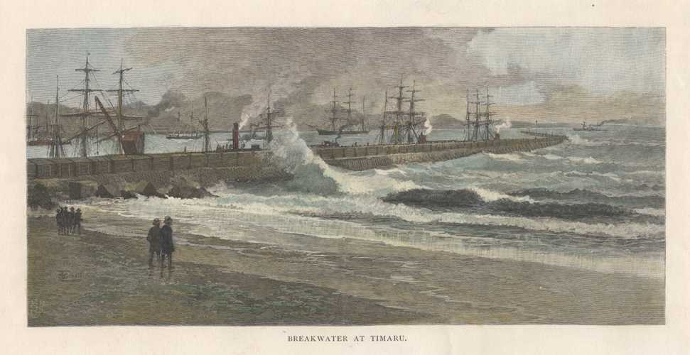 Breakwater at Timaru, New Zealand. Antique Print c1888