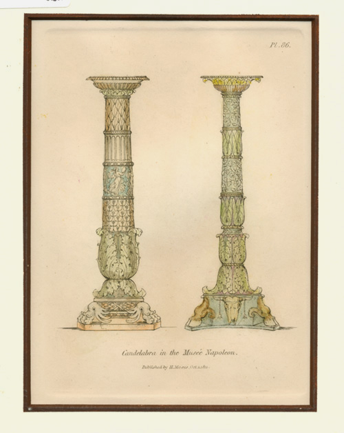 Candelabra in the Musée Napoleon. Moses antique print.1.