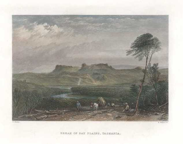 Break of Day Plains, Tasmania. Skinner Prout engraving c1874.