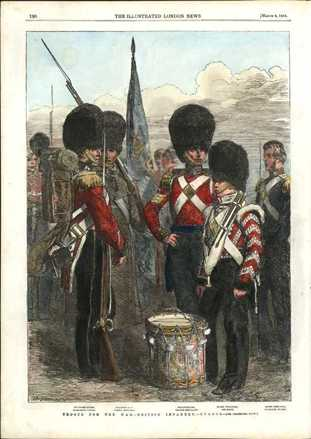 Troops for Crimean War. British Infantry. London News engraving c1854