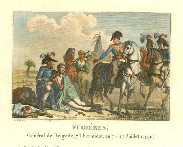 French military engraving of General Fugiéres in battle. Engraved c1810.