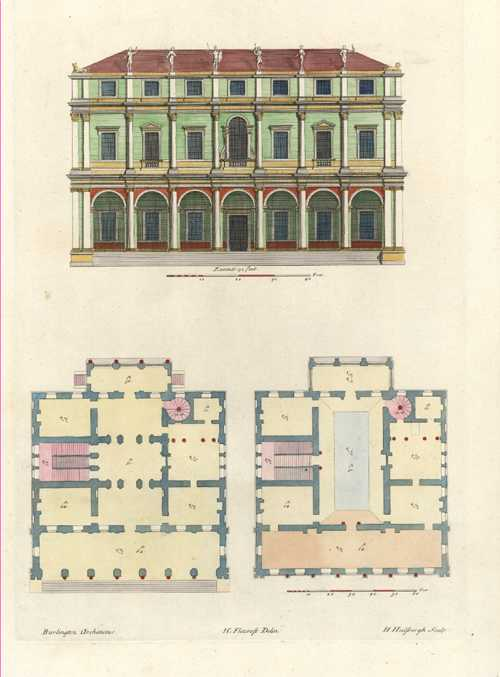 Inigo Jones Architecture. Royal Palace, Whitehall. Pl12v2  c1725