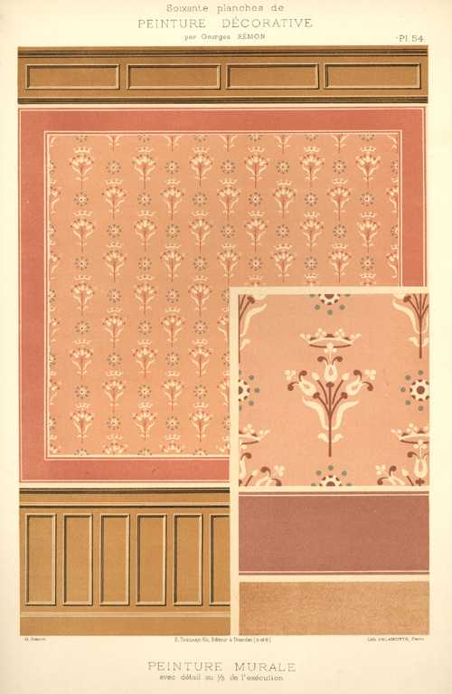 French Decorative Painting. Large Design Print by Remon c1890.b