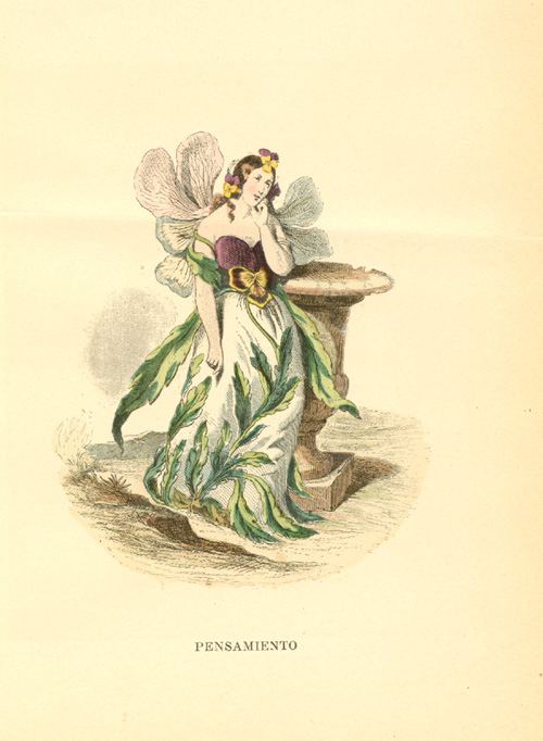 Half-Price Pensive Pansy flower-lady. Grandville animated flowers c1902.
