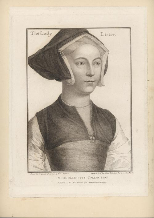 Holbein engraved portrait by Bartolozzi. The Lady Lister. c1792
