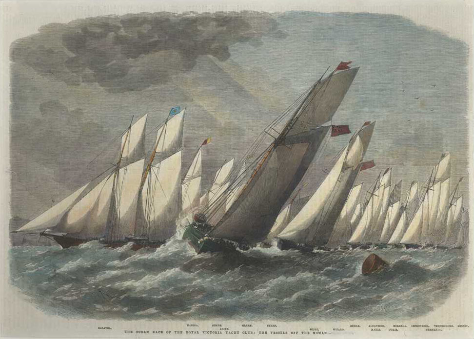 Yachting. Ocean Race of Royal Victoria Yacht Club c1863