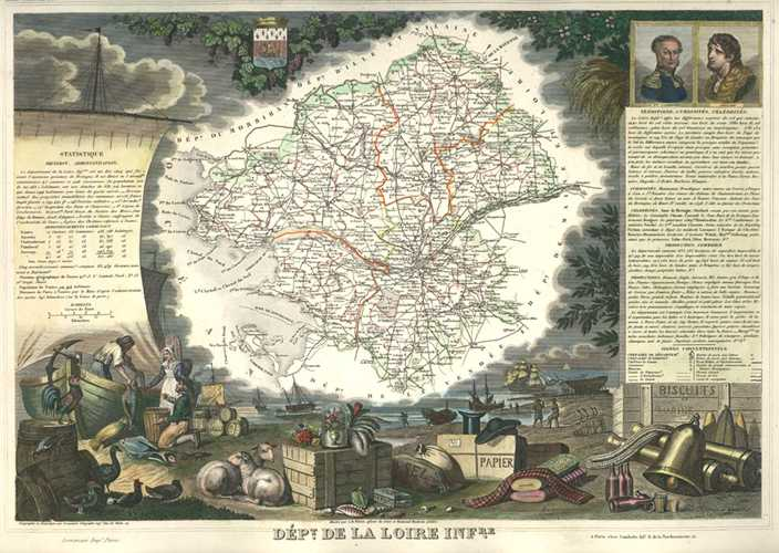 Loire Inferieure, now Loire-Atlantique. Beautiful Antique Map. Levasseur c1854