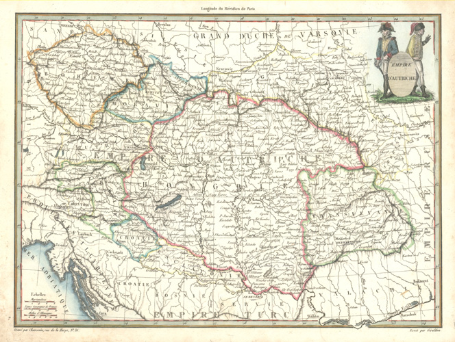 French antique map of Austria. Empire d'Autriche c1812.