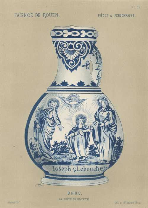 Faience Porcelain Broc. Flight into Egypt biblical scene. antique print c1870