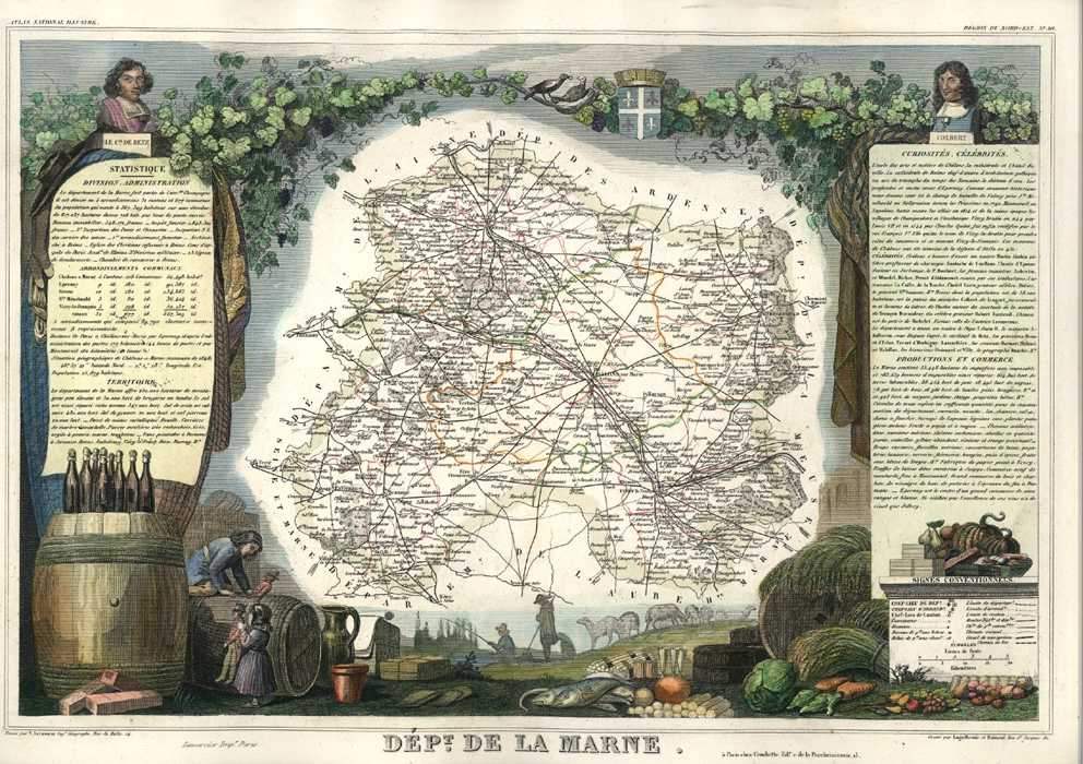 Marne with Reims and Epernay Champage regions. Antique map c1854