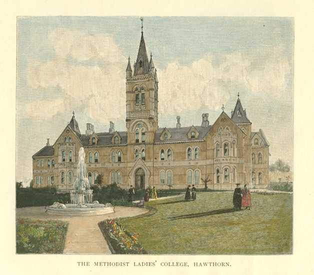 Melbourne Methodist Ladies' College, Hawthorne Australia Antique Print c1886