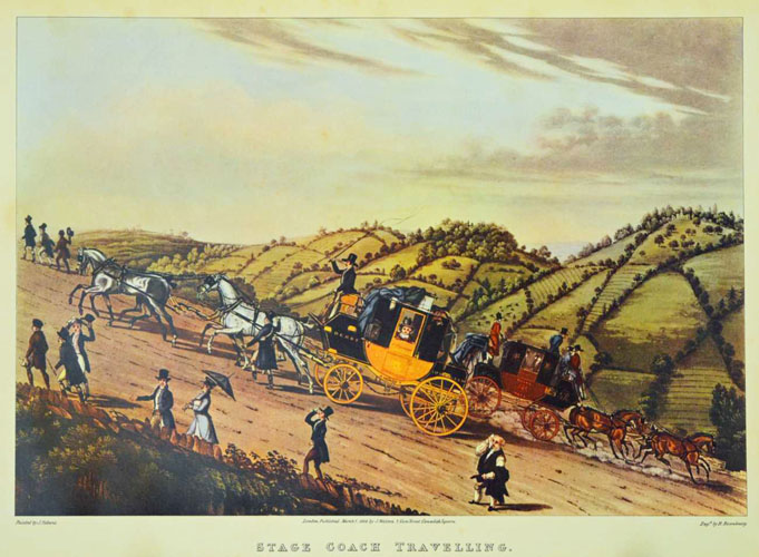 Stage Coach travel in England c1828. Large reprodouction print.