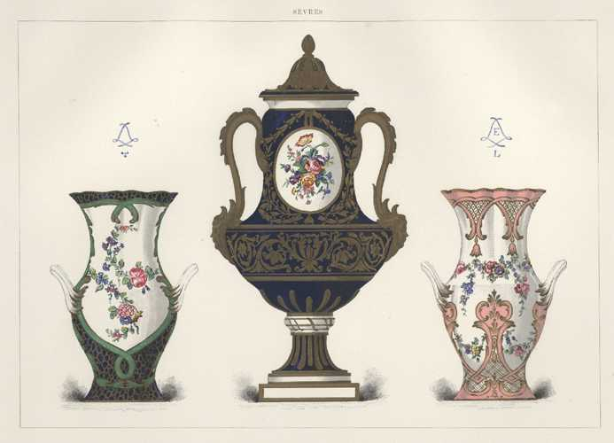 Sevres Porcelain Vases with floral and gilt decoration. Lithograph c1890