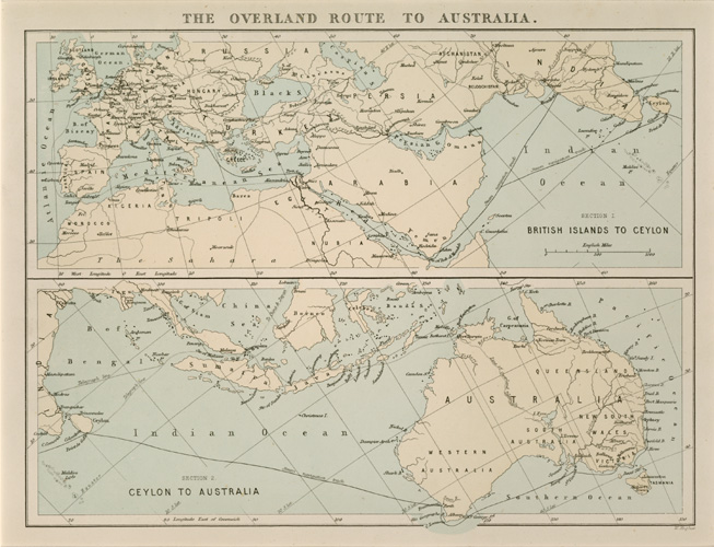 The Overland Route to Australia. Antique Map by W.Hughes c1874