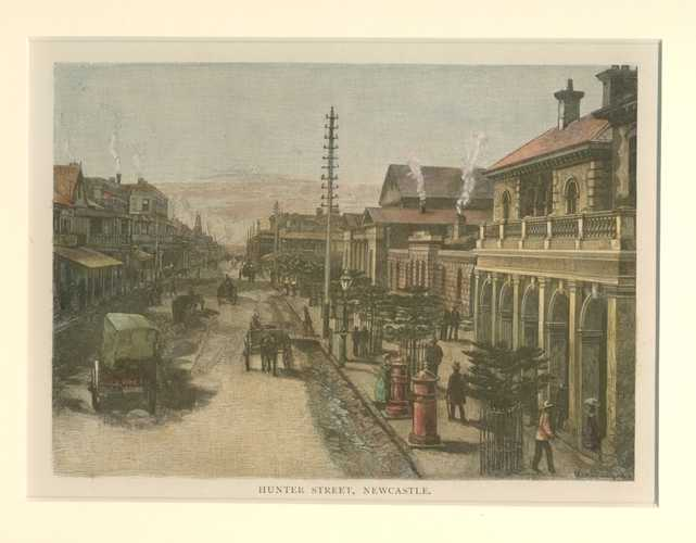 Hunter Street Newcastle, north of Sydney Australia Antique Print c1886