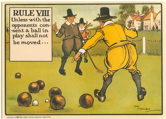 "Cartoon Rules of Golf by Crombie. Rule VIII ""..moving balls"""