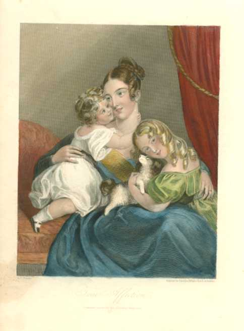 True Affection. Charming portrait of lady and daughters c1842