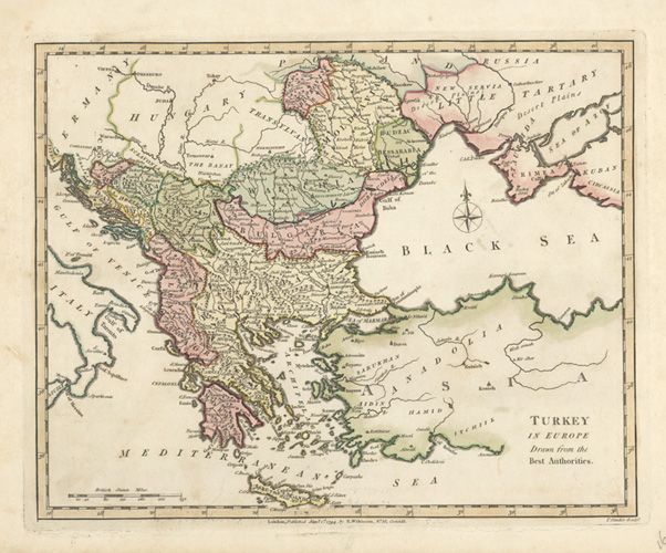Turkey in Europe Antique Map by R. Wilkinson c1794