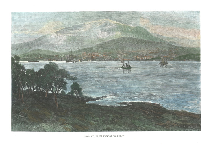Hobart, from Kangaroo Point towards Mt. Wellington c1886.