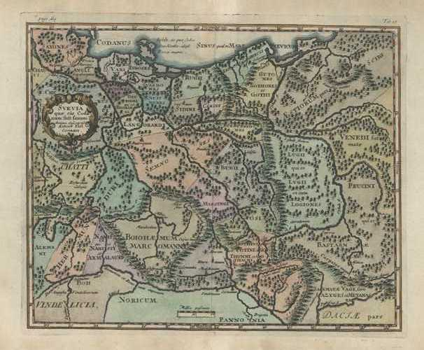 SVEVIA. Suevia or Swabia antique map by Cluver c1711