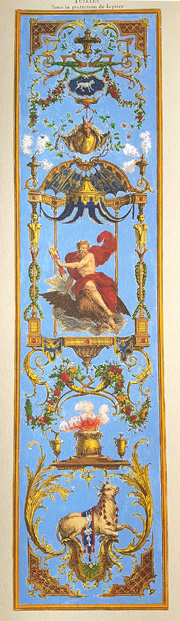"July ""Juillet"" 18th century classical calendar panel print."