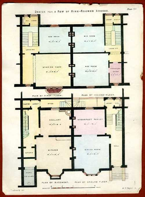 English Architectural Design for a Row of Nine-roomed Houses c1850