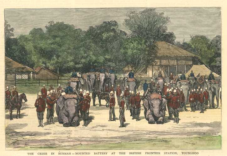 The Crisis in Burmah - Mounted Battery with elephants in Myanmar c1879.