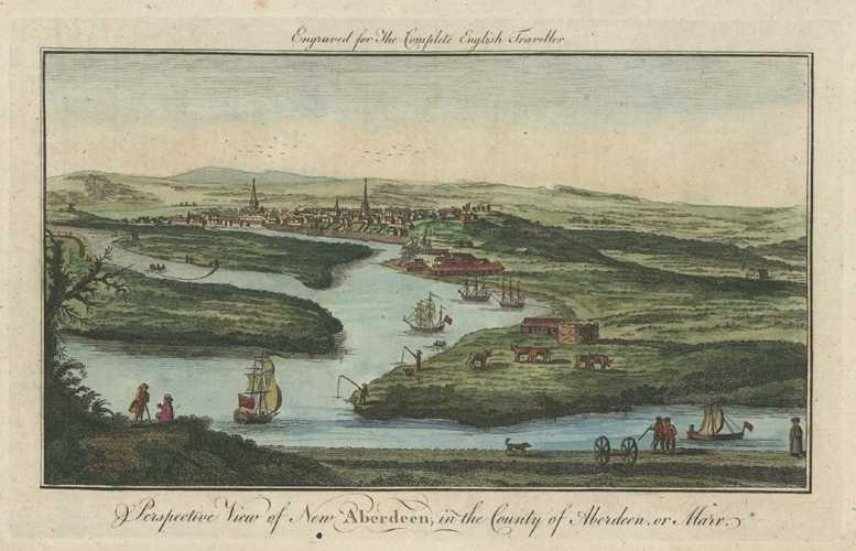 View of Aberdeen, Scotland. Complete English Traveller, Spencer c1773.