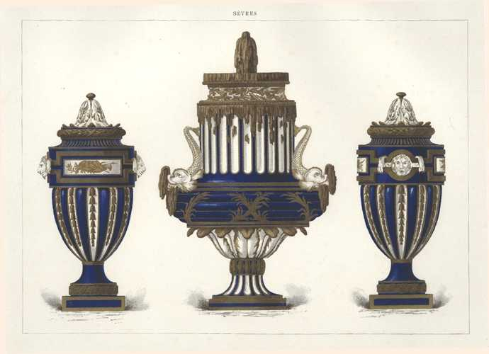 Sevres Porcelain lithograph of superb vases. Antique print c1890