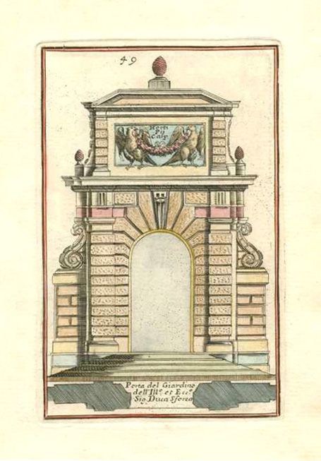 Vignola architectural elevation of Porta del Giardino. c1764