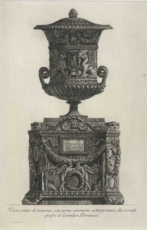 Rare Piranesi etching of antique marble vase. Antique print c1778.