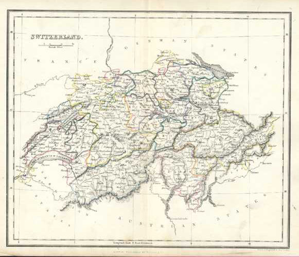 Switzerland Antique Map by Alex Findlay & W. Tegg c1853