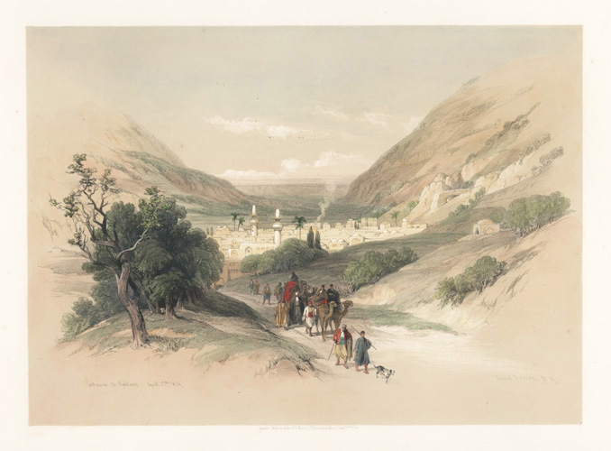 Roberts Holy Land, Entrance to Nablous, painted April 17th 1839. Lithograph c1842