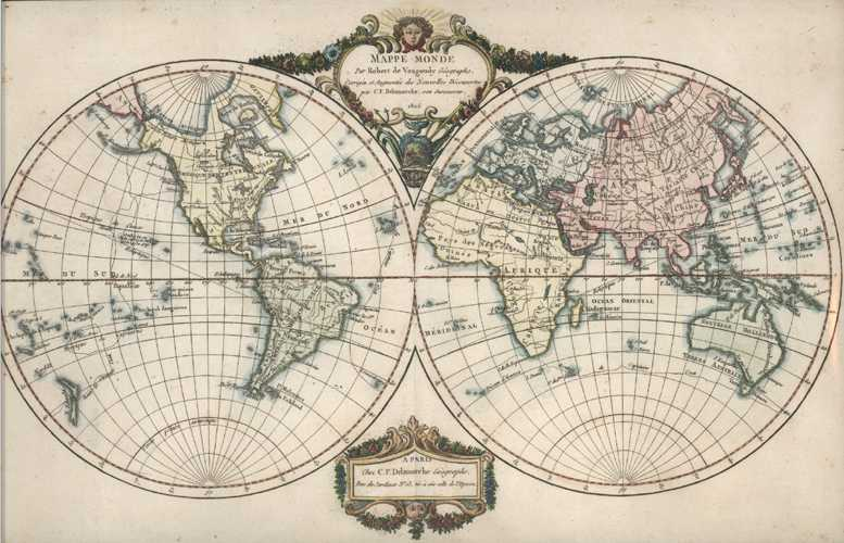 Mappe-Monde. World Map with new Discoveries. Delamarche after Vaugondy c1806