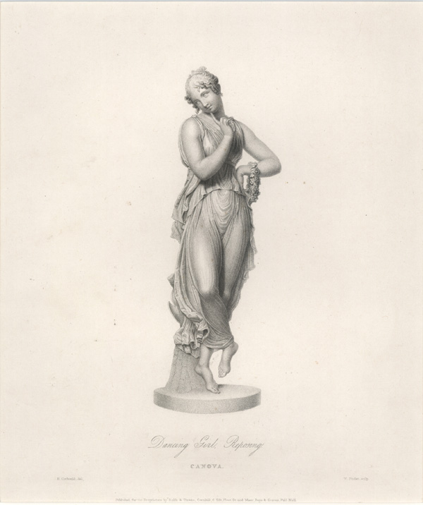 Canova Dancing Girl. Reposing. Marble Statue. Finden engraving c1832.