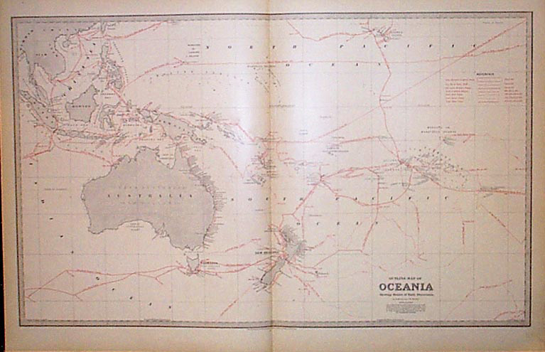 Oceania, large map with explorer voyages in the Pacific, Australia, New Zealand c1888