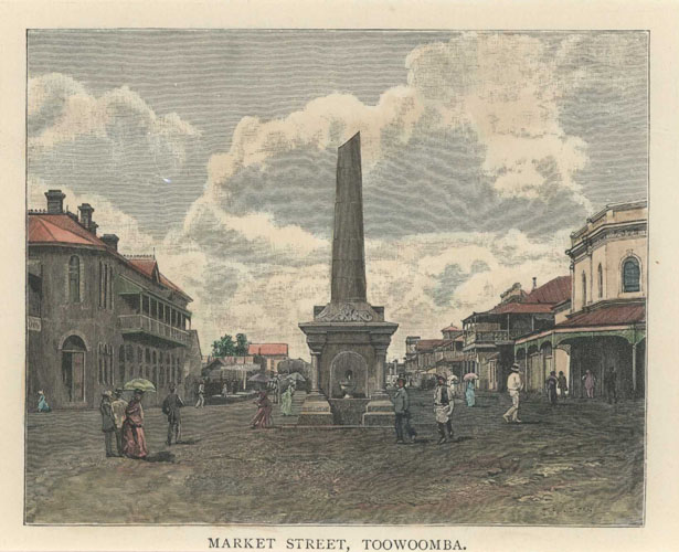 Market Street, Toowoomba, Queensland, antique print c1886