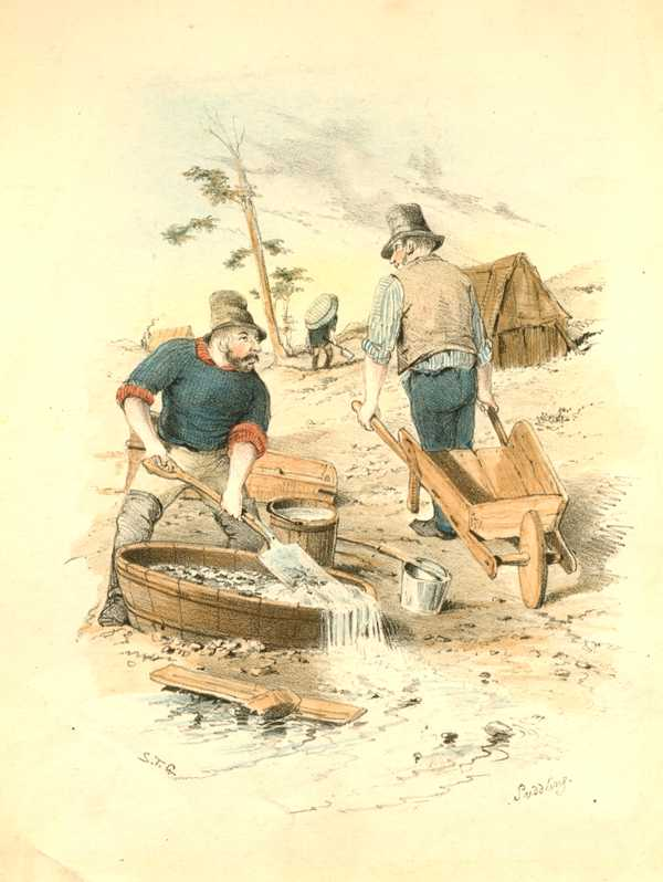 Australian Goldfields. Puddling for Gold. S. T. Gill Antique Print c1853.