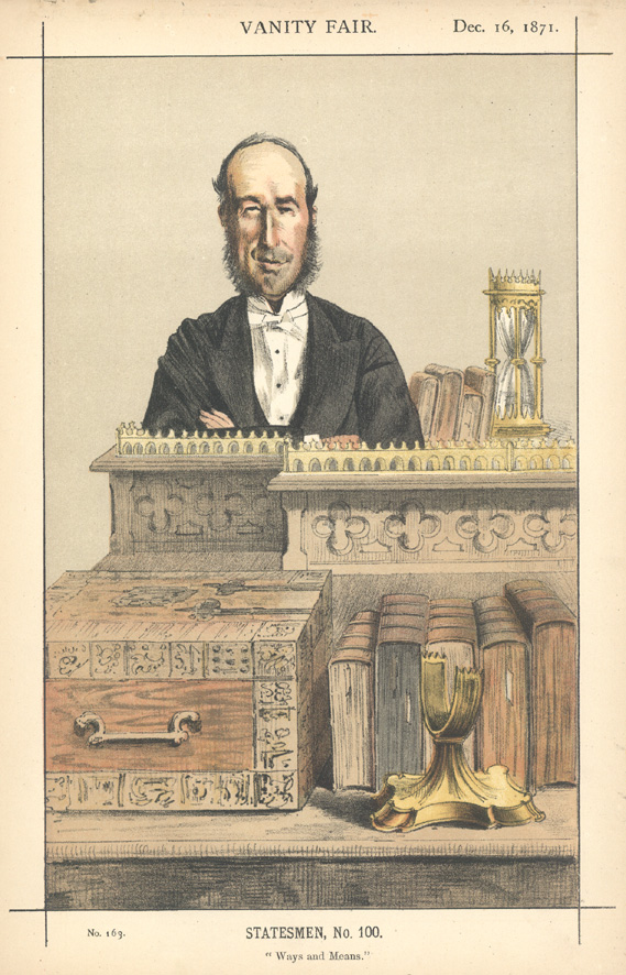 "Vanity Fair Statesmen, No. 100. ""Ways and Means"". Chromolithograph c1871."