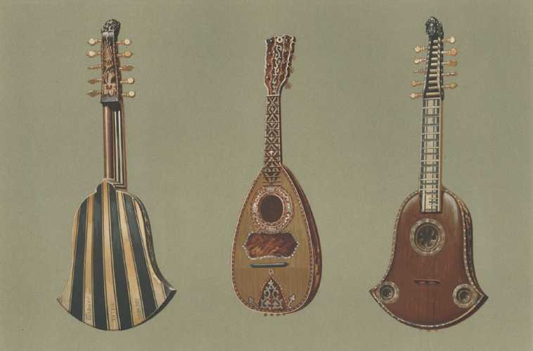 Quinterna and Mandoline lithograph for Alfred Hipkins' Musical Instruments - Historic, Rare and Unique c1888.